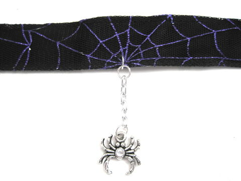 Spiderweb,Spider,Gothic,Choker,Black,Purple,spiderweb spider handmade, gothic choker, spiderweb, ribbon, black, Spider, rocker, punk, alternative, spooky