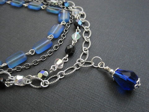 Blue,Multi,Strand,Romantic,Vintage,Inspired,Necklace,Blue Multi Strand Romantic Vintage Inspired Necklace, handmade