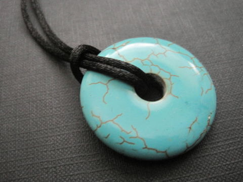 Turquoise,Blue,Howlite,Donut,Cord,Necklace,Turquoise Blue Howlite Donut Cord Necklace, unisex cord necklace, howlite cord necklace, turquoise necklace, handmade jewelry