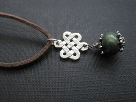Celtic,Knot,Chrysocolla,Cord,Necklace,Celtic Knot Chrysocolla Cord Necklace, Celtic weave knot, Love Knot Necklace, handmade jewelry, Green Celtic Necklace