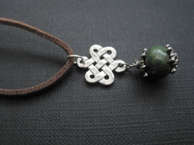 Celtic Knot Chrysocolla Cord Necklace - product images  of