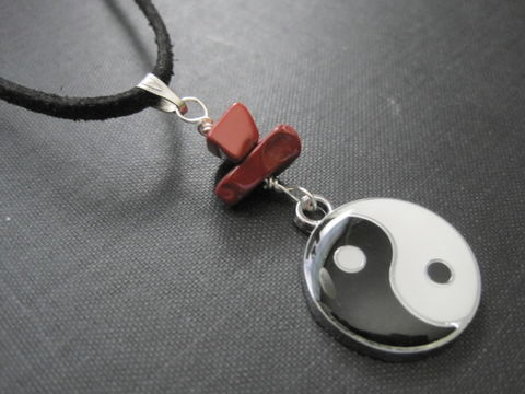 Yin,Yang,Dragon,Double,Side,Red,Jasper,Cord,Necklace,Yin Yang Dragon Necklace, Double Side Red Jasper Cord Necklace