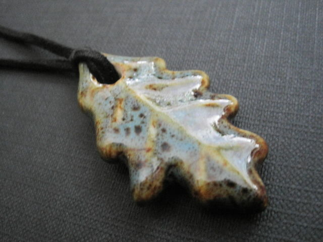 Mystic Oak Leaf Fall Black Suede Cord Necklace Unisex Style - product images  of