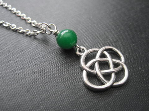 Celtic,Love,Knot,Necklace,Celtic Love Knot Necklace, Trinity knot, Irish jewelry, handmade jewelry, Celtic Knot Necklace, green jade, st patricks day jewelry, love knot, eternal love necklace