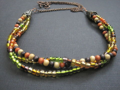 Multi,Strand,Autumn,Harvest,Colors,Antique,Copper,Necklace,Multi Strand Autumn Harvest Colors Antique Copper Necklace
