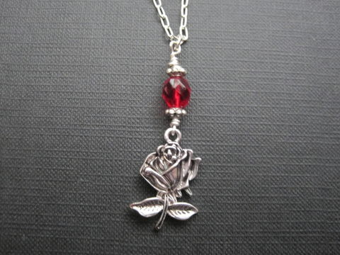 Romantic,Rose,Red,Glass,Necklace,Romantic Rose Red Glass Necklace, handmade