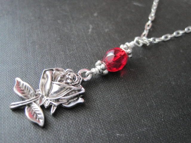 Romantic Rose Red Glass Necklace - product images  of