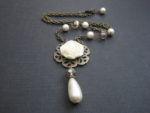 Cream,Rose,Filigree,Pearl,Crystal,Victorian,Necklace,Cream Rose Filigree Pearl Crystal Victorian Necklace, cream, rose, filigree, pearl, pearls, crystals, victorian necklace, necklace, victorian, antique, vintage style, romantic jewelry, handmade, filigree jewelry, vamp jewelry, cab rose necklace, cabochon