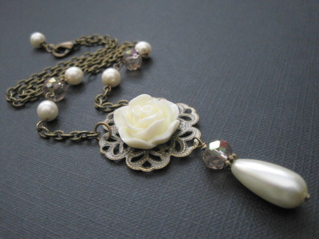 Cream Rose Filigree Pearl Crystal Victorian Necklace - product images  of