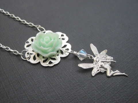 Filigree,Mint,Rose,Fairy,Silver,Necklace,filigree mint rose fairy necklace, fairy,  rose, mint, silver, necklace, filigree necklace, victorian necklace,cabochon rose necklace, fairy necklace, fairy jewelry, vamps jewelry, mystical jewelry, handmade