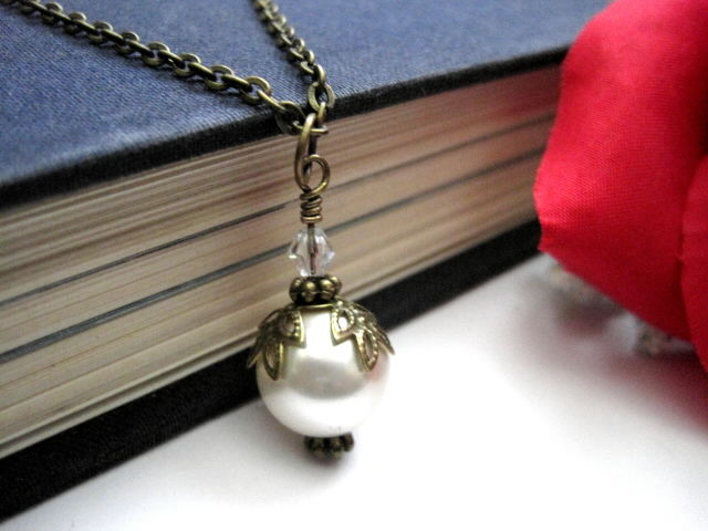 Victorian Antique Gold Swarovski Pearl Crystal Necklace - product images  of