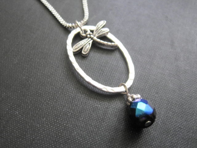 Mystical Dragonfly Oval Ring Infinity Necklace - product images  of