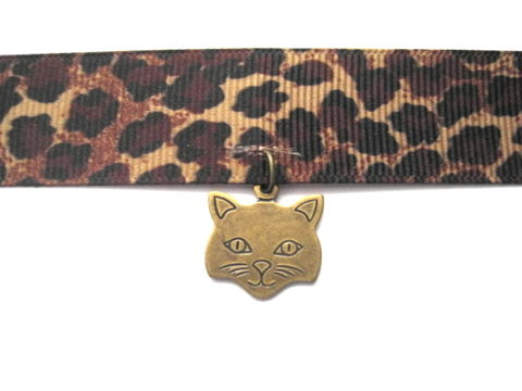Antique,Brass,Kitty,Cat,Face,Animal,Print,Choker,Antique Brass Kitty Cat Face Animal Print Choker