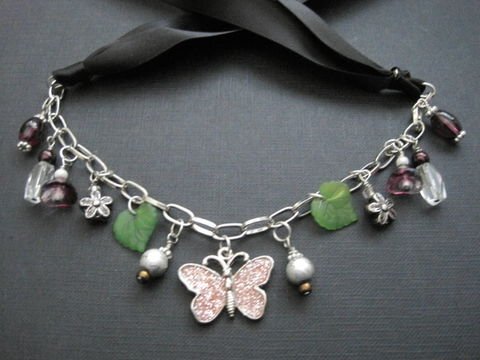 Nocturnal,Butterfly,Chunky,Charm,Leaf,Flower,Ribbon,Necklace,butterfly, chunky necklace, charm necklace, leaves, flowers, glass beads, metal charms, chain, black, ribbon, silk ribbon, green, purple, crystal, handmade, vamps jewelry, versatile necklace, gothic, multi purpose necklace, choker, enameled butterfly