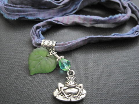 Frog,Prince,Fairytale,Silk,Sari,Ribbon,Necklace,frog prince necklace, silk sari ribbon necklace, fairytale frog prince sari ribbon necklace, frog on lily pad necklace, green, purple, silver, vamps jewelry, handmade jewelry, fairytale jewelry