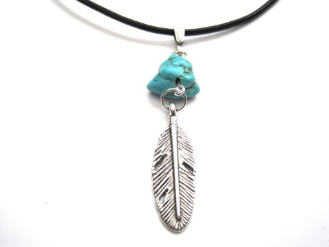 Feather,Leather,Necklace,Turquoise,Howlite,Feather Leather Necklace, Turquoise Howlite, handmade jewelry