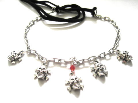 Multi,Skull,&,Crossbones,Choker,Necklace,Multi Skull & Crossbones Necklace, crossbones, skull, jolly roger, pirate, gothic jewelry, skulls, handmade jewelry