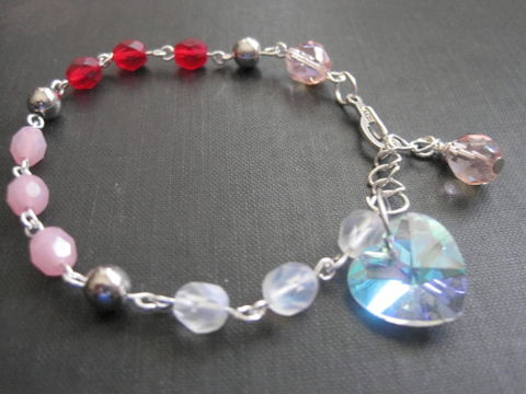 Romantic,Love,Blush,Crystal,Heart,Bracelet,Romantic Love Blush Crystal Heart Bracelet