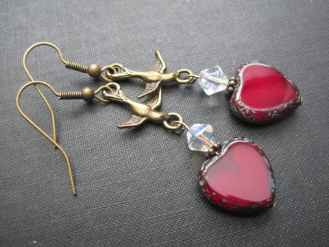 Antique,Brass,Sparrow,Red,Heart,Dangle,Earrings,Antique Brass Sparrow Red Heart Dangle Earrings, antique, brass, sparrow, bird, swallow, red, heart, vintage style, dangle earrings, handmade jewelry