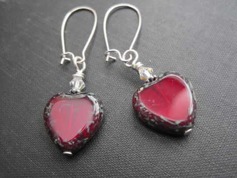 Red,Hearts,Sweetheart,Dangle,Earrings, Hearts, Sweetheart, Dangle Earrings, handmade jewelry, valentine's day, romantic jewelry, vamps jewelry picasso heart beads