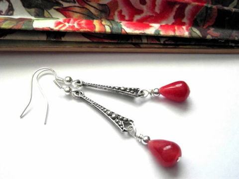 Red,Jade,Antique,Silver,Tear,Drop,Earrings,Red Jade Antique Silver Tear Drop Earrings, handmade jewelry