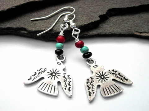 Thunderbird,Southwestern,Tribal,Bird,Earrings,Thunderbird Southwestern Tribal Bird Earrings, handmade jewelry