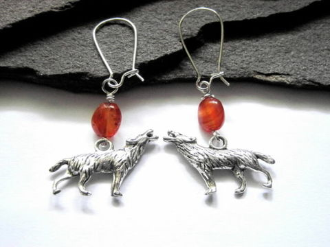 Wolf,Spirit,Carnelian,Dangle,Earrings,Wolf Earrings, Wolf Spirit Carnelian Dangle Earrings