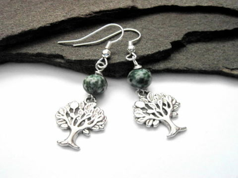 Tree,of,Life,Agate,Dangle,Earrings,Tree of Life Tree Agate Dangle Earrings
