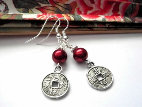 Chinese,Good,Luck,Coin,Red,Pearl,Earrings,Chinese Good Luck Coin Red Pearl Earrings