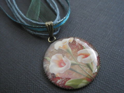 Lily,Flower,Multi,Cord,Green,Ribbon,Necklace,Lily Flower Multi Cord Green Ribbon Necklace,   handmade jewelry