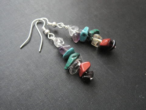 Seven,Chakras,Gemstone,Dangle,Earrings,Seven Chakras Gemstone Dangle Earrings