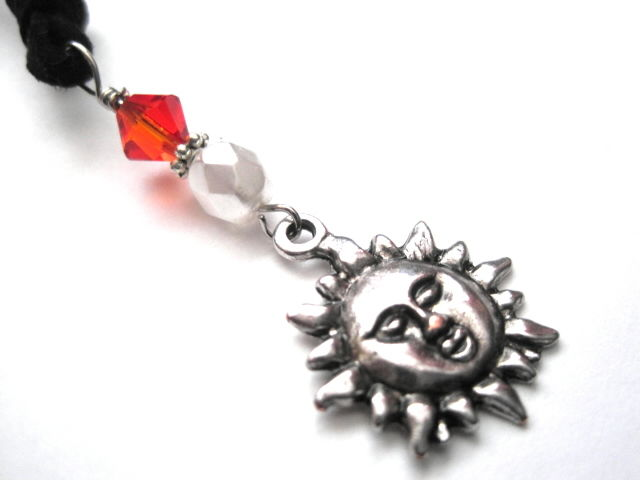 Metal Sun Swarovski Crystal Suede necklace - product images  of