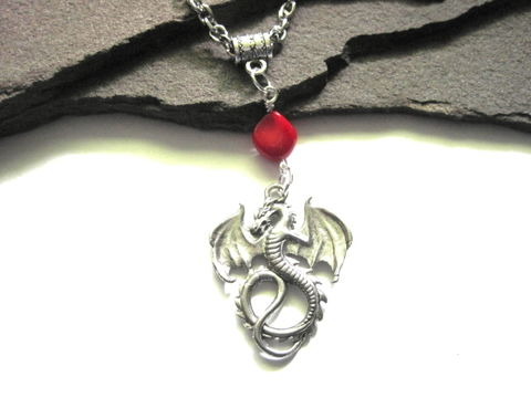 Dragon,Spirit,Red,Coral,Necklace,Unisex,Dragon Spirit Red Coral Necklace, Unisex Necklace, Chinese Dragon, handmade jewelry