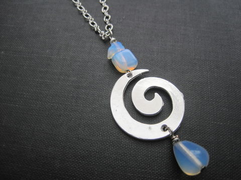 Moonstone,Opalite,Spiral,Necklace,Moonstone Opalite Spiral Necklace, Goddess swirl, handmade jewelry