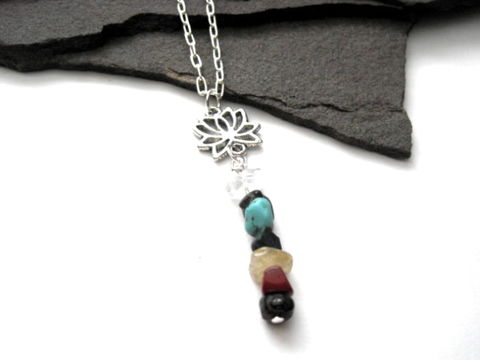 Chakra,Gemstone,Lotus,Flower,Necklace,Chakra Gemstone Lotus Flower Necklace, best seller chakra necklace