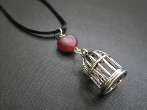 Red,Heart,Bird,Cage,Silk,Cord,Necklace,birdcage necklace, cage necklace, handmade jewelry, heart, red, antique silver, silk cord, black, aurora borealis, gothic, bird cage, vamps jewelry, valentine's day, steampunk, neovictorian jewelry
