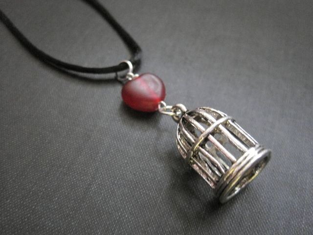 Red Heart Bird Cage Silk Cord Necklace - product images  of