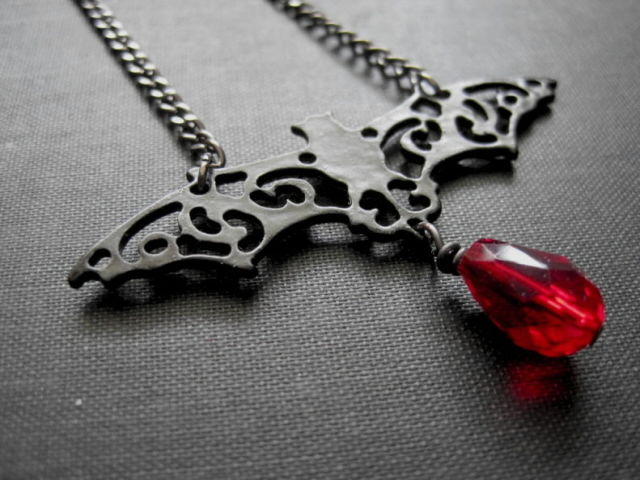 Filigree Vampire Bat Necklace Vamp Necklace - product images  of