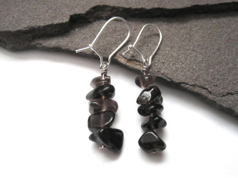 Smoky,Quartz,Nugget,Chip,Dangle,Earrings,smoky quartz, earrings, gemstone, grounding, energy ,nugget chip earrings, smoky crystal, brown, silver, vamps jewelry mystical, magical, zen