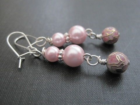 Pink,Pearl,Cloisonne,Dangle,Earrings,pink, pearl, pearls, cloisonne, dangle earrings, handmade, vamps jewelry, wire wrapped