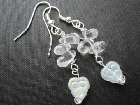 Rock,Crystal,Quartz,Leaf,Dangle,Earrings,Rock Crystal Quartz Leaf Dangle Earrings, handmade jewelry, gemstone jewelry