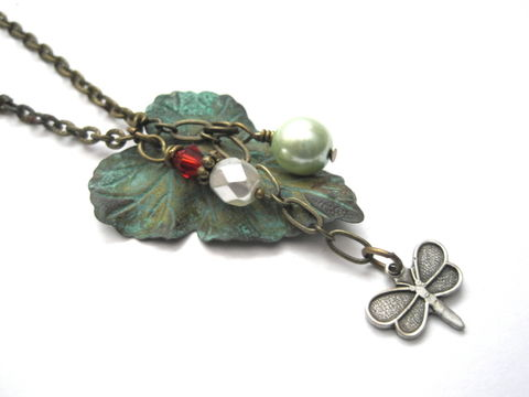 Antique,Gold,Verdigris,Leaf,Butterfly,Charm,Necklace,antique gold, brass, verdigris, leaf, butterfly, charm necklace, necklace, verdigris patina jewelry, vamps jewelry, handmade, antique silver