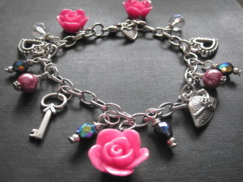 Roses,and,Hearts,Charm,Bracelet,Roses and Hearts Charm Bracelet, heart, rose, pink, charm bracelet