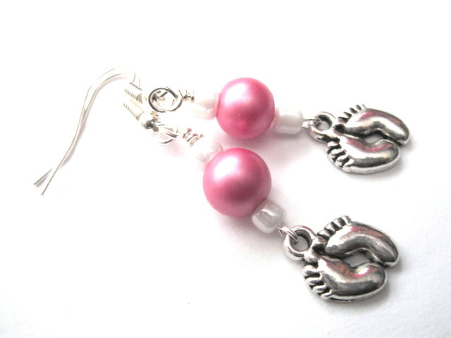 New Baby Little Feet Dangle Earrings - product images  of