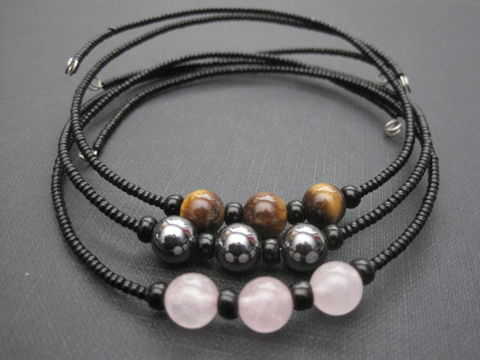 Gemstone,Choker,Gemstone Chokers, rose quartz, tigers eye, hematite, memory wire, handmade jewelry