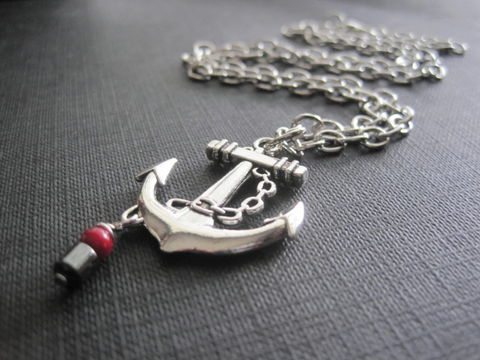 Anchor,Nautical,Necklace,Anchor Nautical Necklace, beach jewelry, unisex jewelry, sea, ocean, sea-faring mariners, pirates, handmade jewelry, handmade necklace