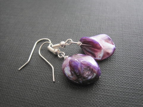 Purple,Mother,of,Pearl,Dangle,Earrings,Purple Mother of Pearl Dangle Earrings, shell, sea, ocean, beach jewelry