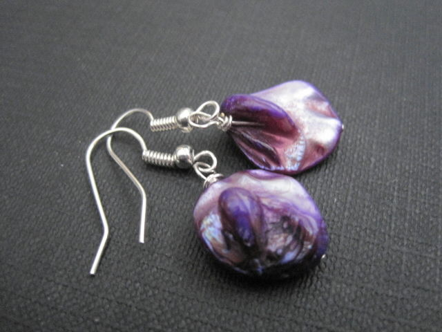 Purple Mother of Pearl Dangle Earrings  - product images  of