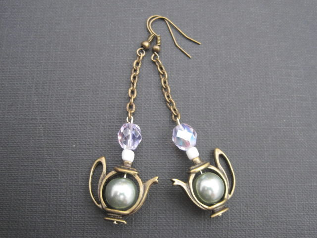 Alice in Wonderland Brass Teapot Dangle Earrings - product images  of