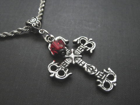 Metal,Cross,Goth,Necklace,Metal Cross Goth Necklace, handmade jewelry
